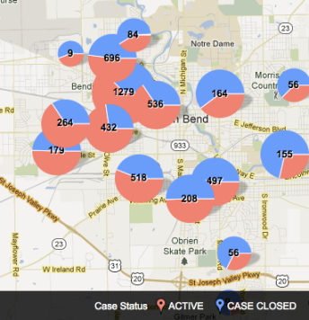 Map of South Bend Code Violations